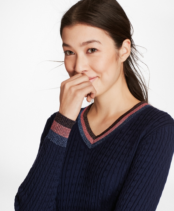 Shimmer-Stripe Cable-Knit Supima® Cotton V-Neck Sweater Navy
