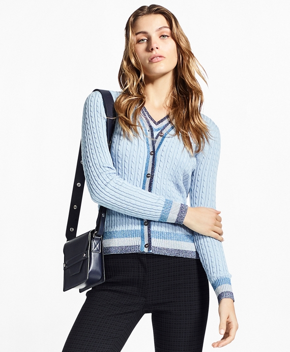 Shimmer-Stripe Cable-Knit Supima® Cotton Cardigan Chambray Blue