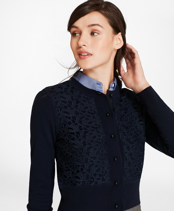 Lace-Trimmed Merino Wool Cropped Cardigan Navy