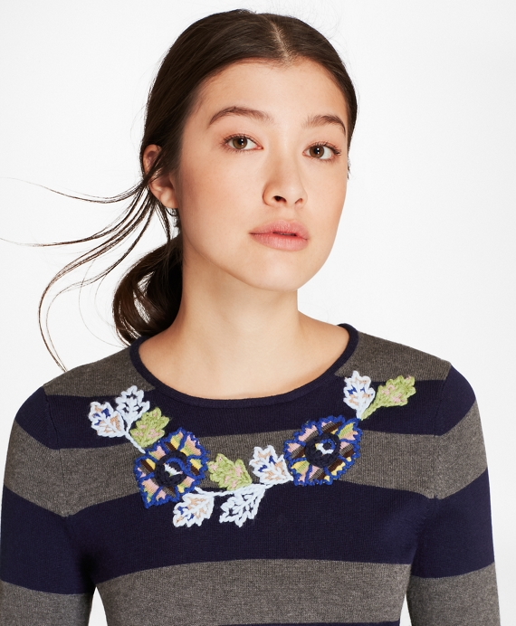 Floral-Embroidered Striped Silk-Cashmere Sweater Navy-Charcoal
