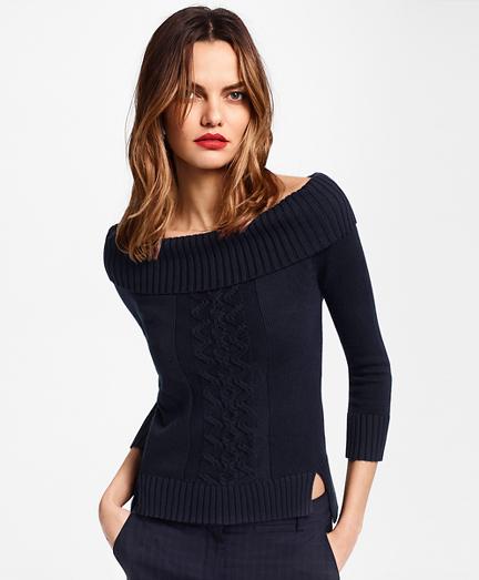 Supima® Cotton Portrait-Neck Sweater