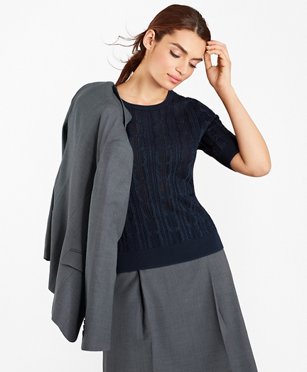 Pointelle Cable-Kit Sweater
