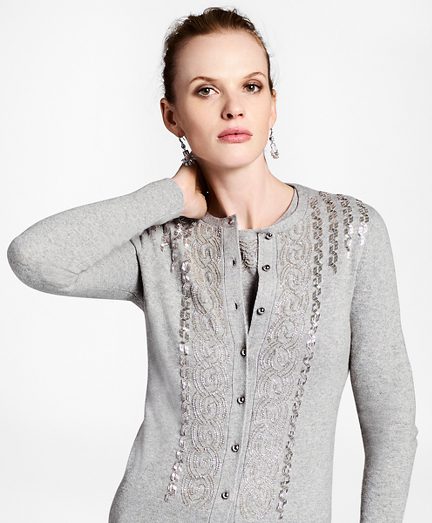 Wool-Cashmere-Blend Beaded Cardigan