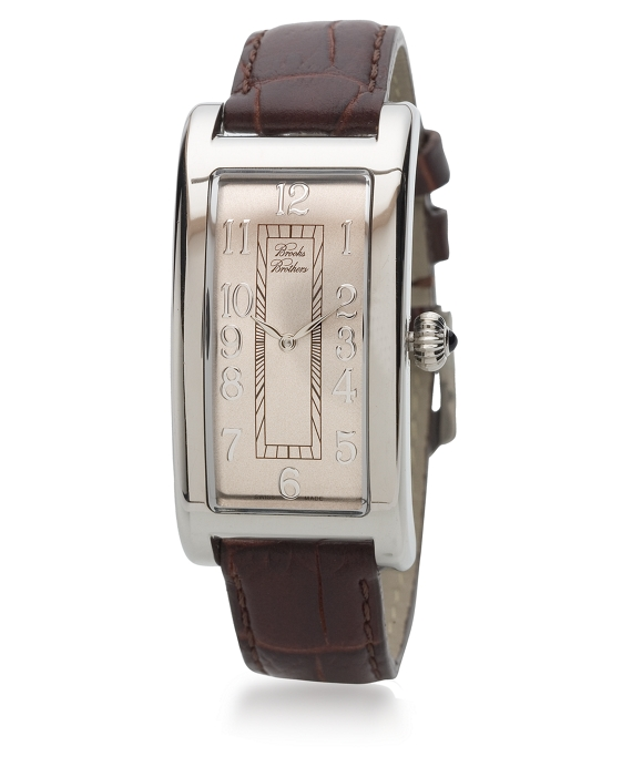 Ladies' Rectangular Watch with Brown Band As Shown