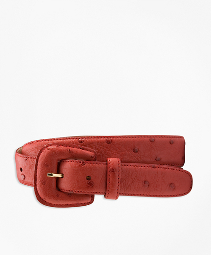 Covered-Buckle Ostrich Belt