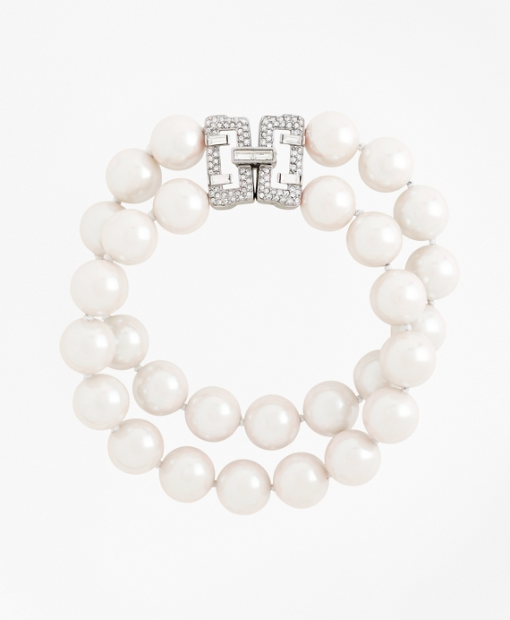 Two-Row 12mm Glass Pearl Bracelet As Shown