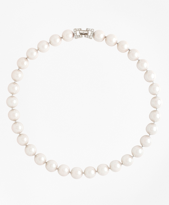 "17"" 12mm Glass Pearl Necklace with Deco Clasp"