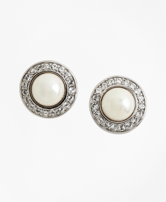 Glass Pearl & Crystal Stud Earrings As Shown