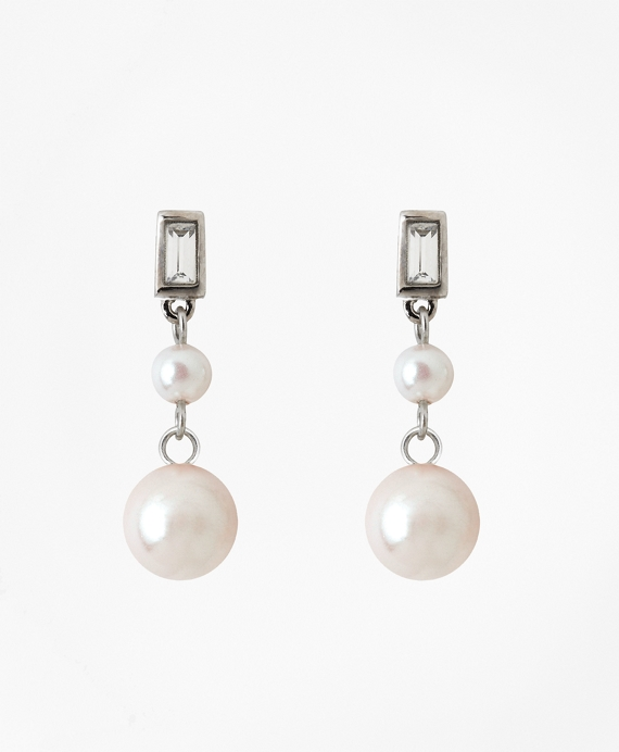 Cubic Zirconium Double Glass Pearl Drop Earrings