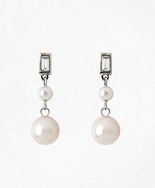 Cubic Zirconia Double Glass Pearl Drop Earrings