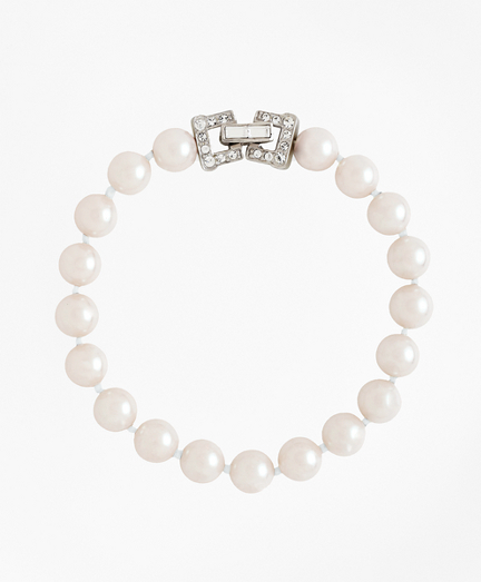 """7.5"""" 8mm Glass Pearl Bracelet with Deco Clasp"""