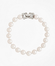 "7.5"" 8mm Glass Pearl Bracelet with Deco Clasp"