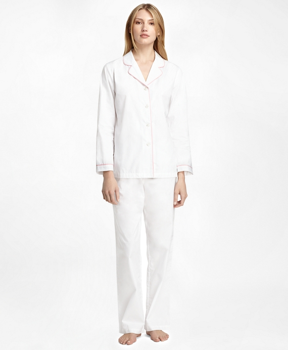 spring autumn women cotton pajama sets pink and white color stripped European and American style brief top quality pyjamas-in Pajama Sets from Women's White Lace Pajamas Slightly masculine in cut and style, Bodas' striped cotton pajama sets are all about luxurious comfort.