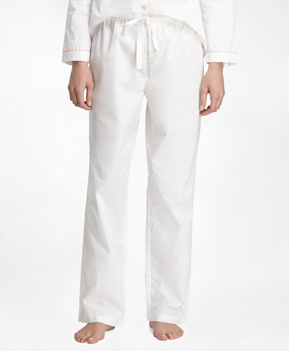 Women's White Pajamas with Pink Piping | Brooks Brothers
