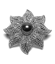 Pave Flower Pearl Pin
