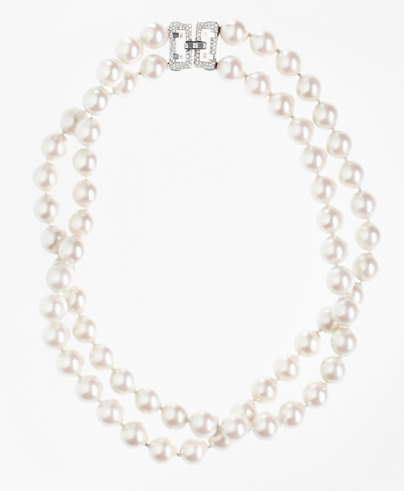 Two-Row 12mm Glass Pearl Nested Necklace As Shown