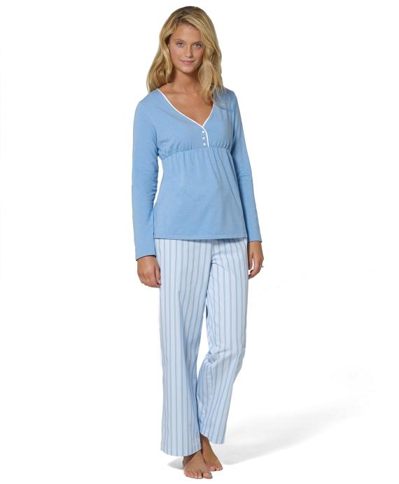 Cotton Windowpane Pajamas Blue