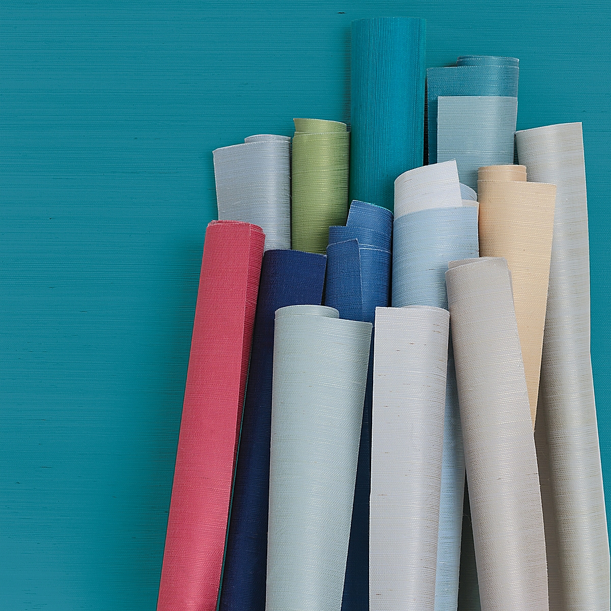 Grasscloth Wallcovering in Teal