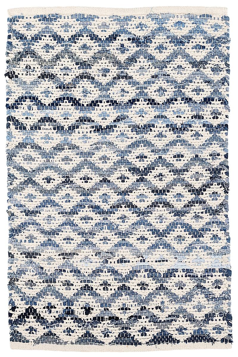 Denim Rag Diamond Ivory Woven Cotton Rug