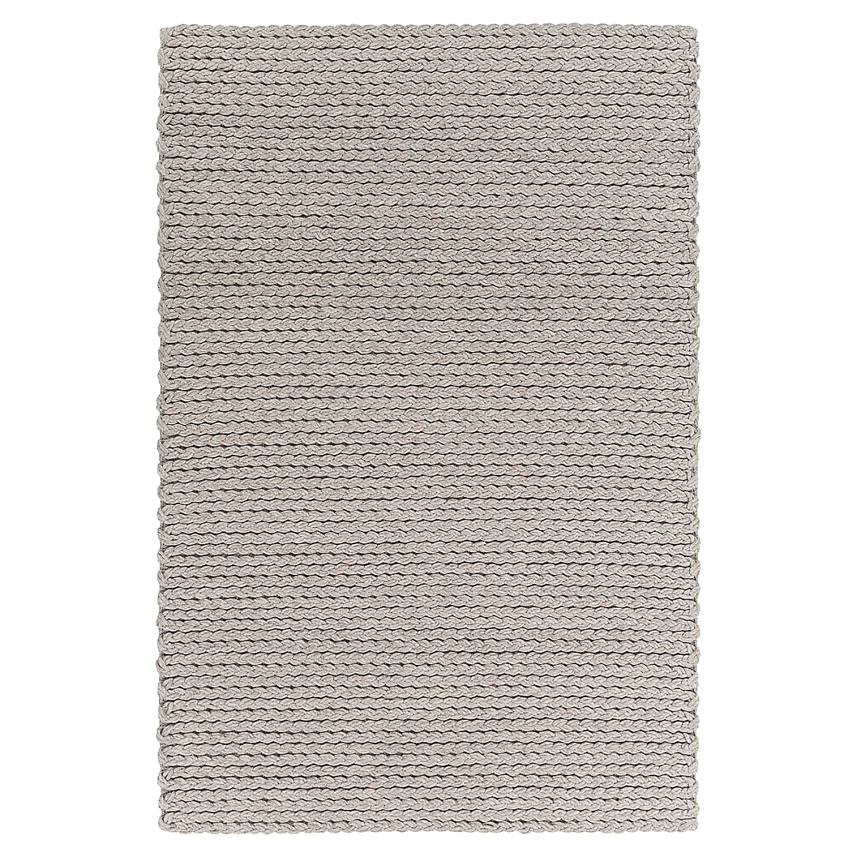 Double Braided Felted Wool Rug - Light Gray