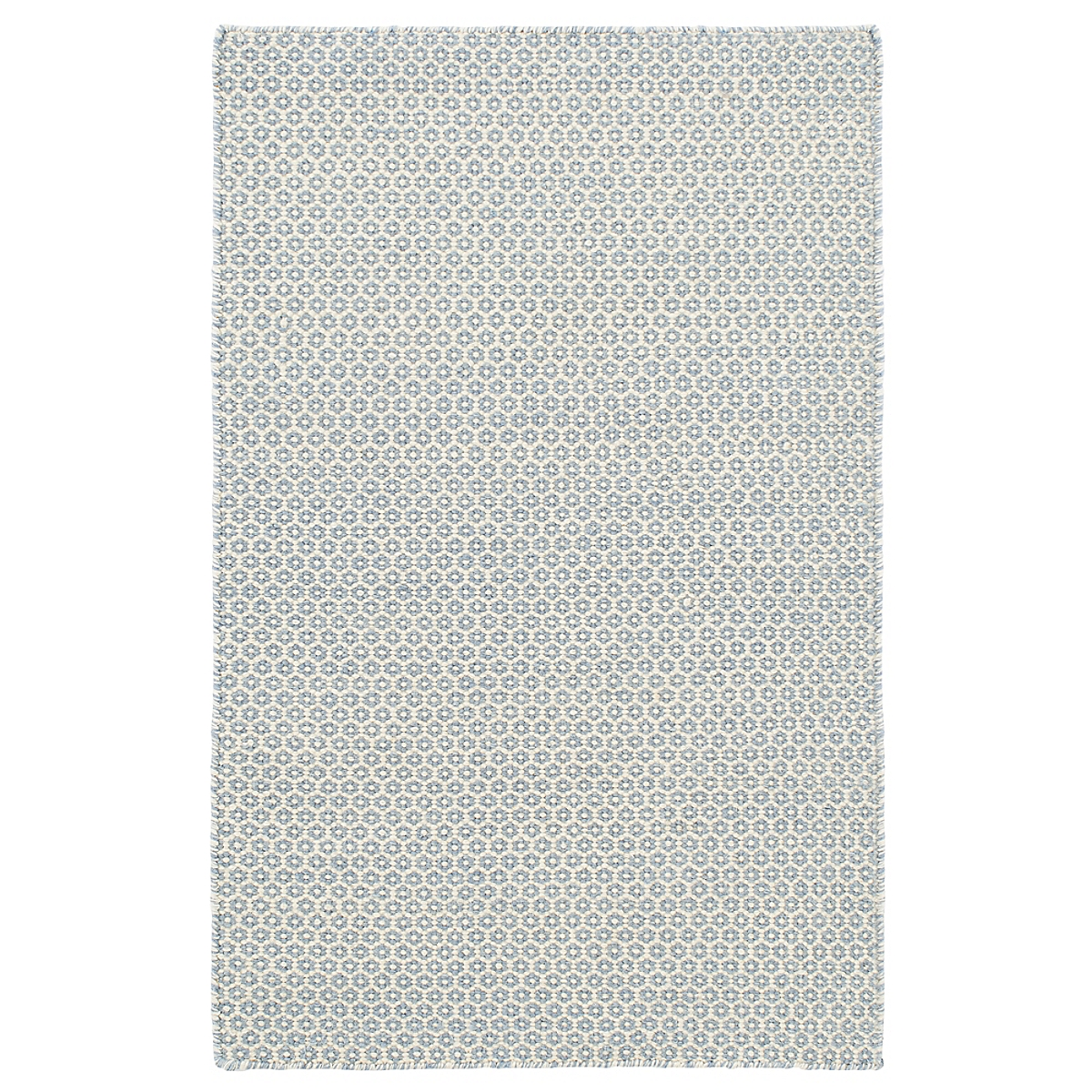 Honeycomb French Blue Ivory Wool Woven Rug