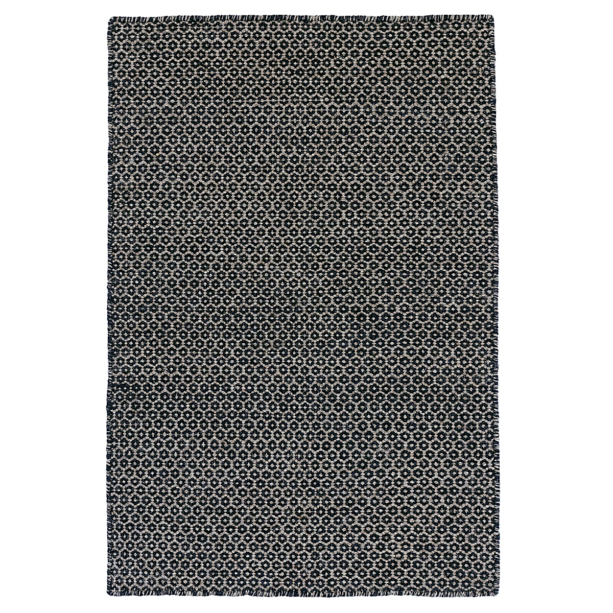 Honeycomb Indigo Grey Wool Woven Rug
