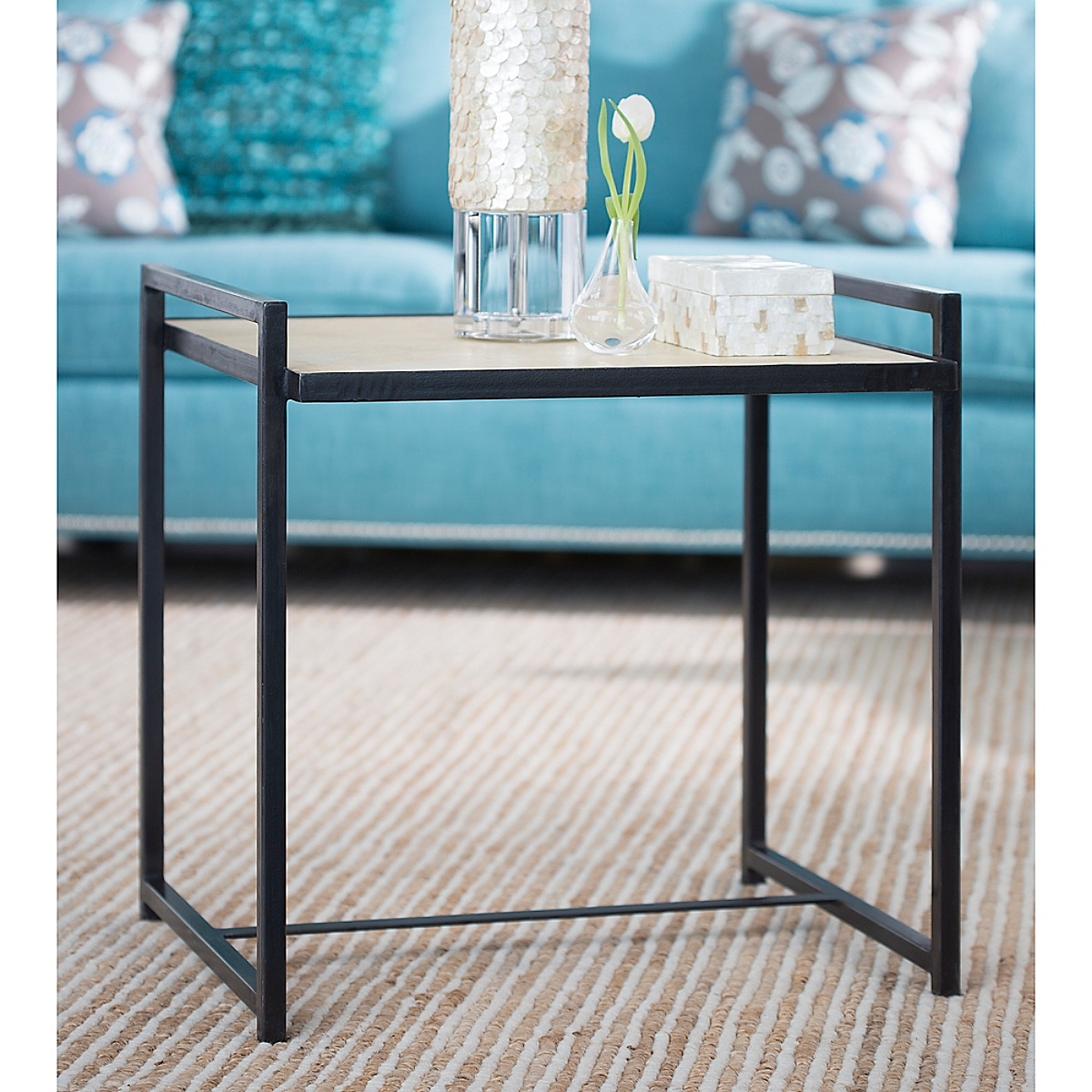 Large Steel Vellum Side Table