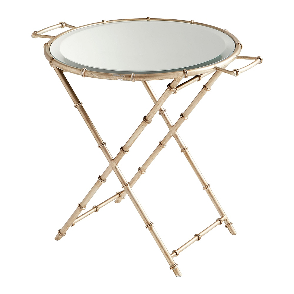 Mirrored Glass Tray Table