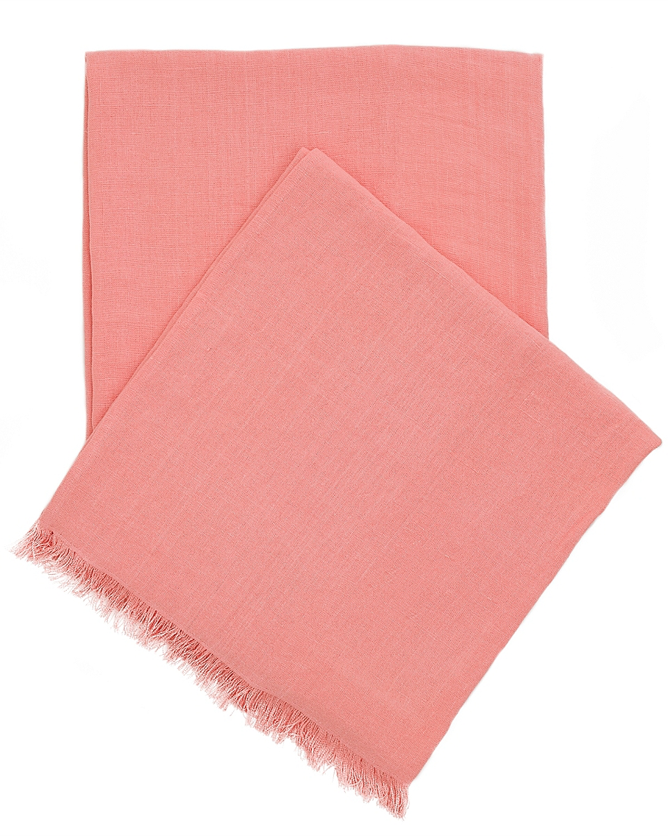 Stone Washed Linen Coral Throw