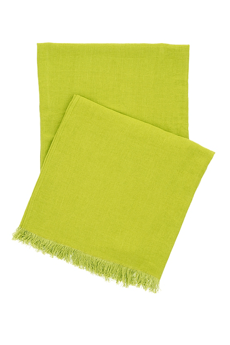 Stone Washed Linen Green Throw