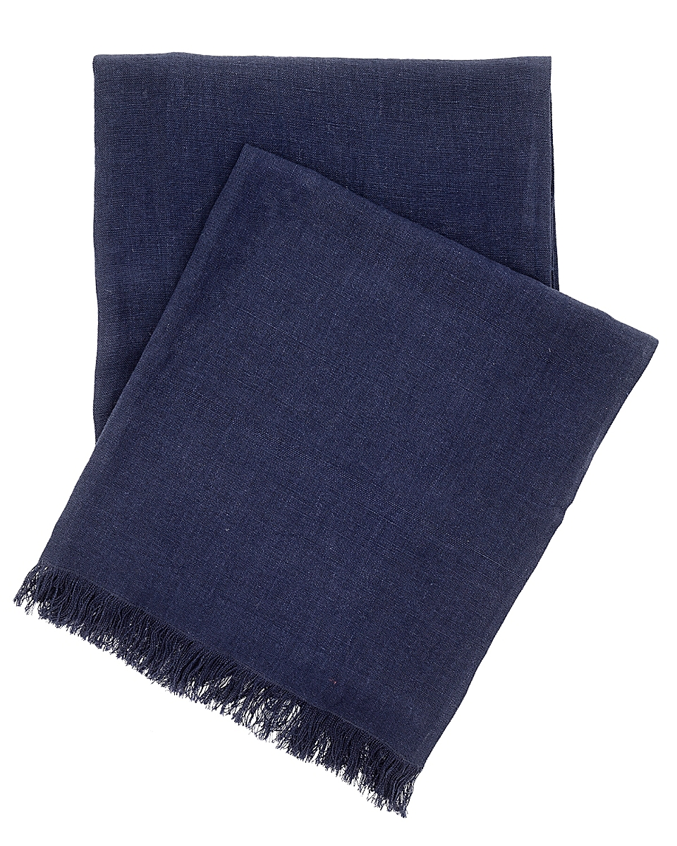 Stone Washed Linen Indigo Throw