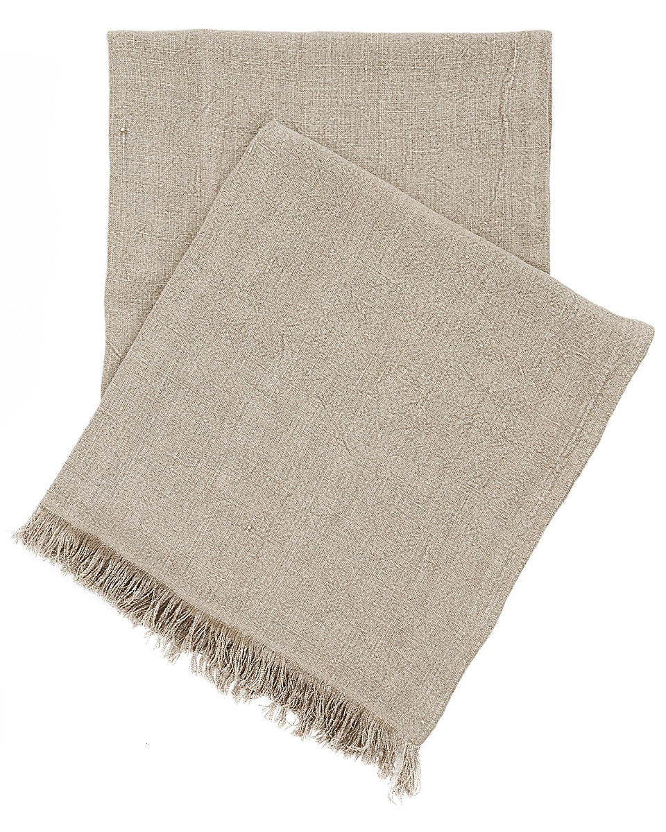 Stone Washed Linen Natural Throw