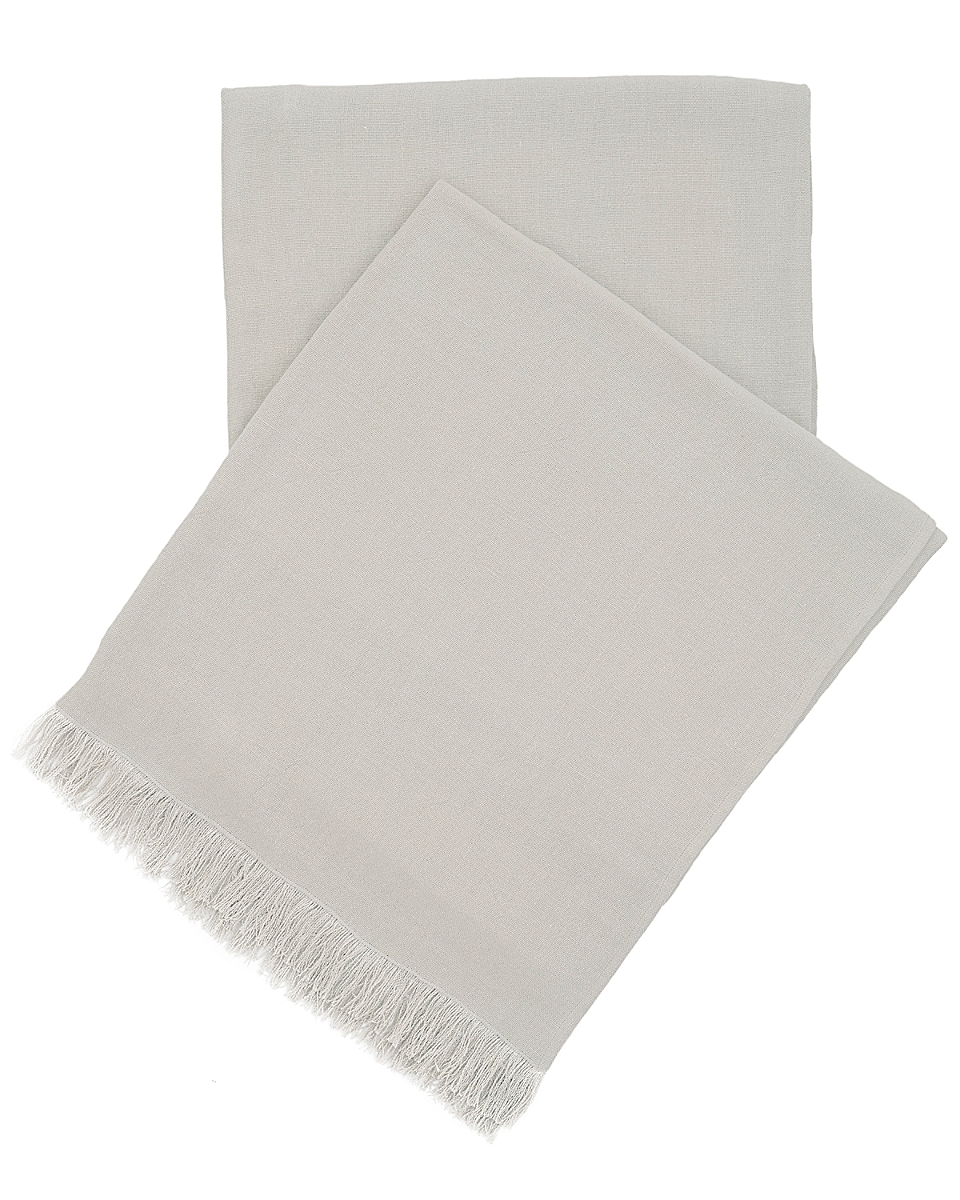 Stone Washed Linen Pearl Grey Throw
