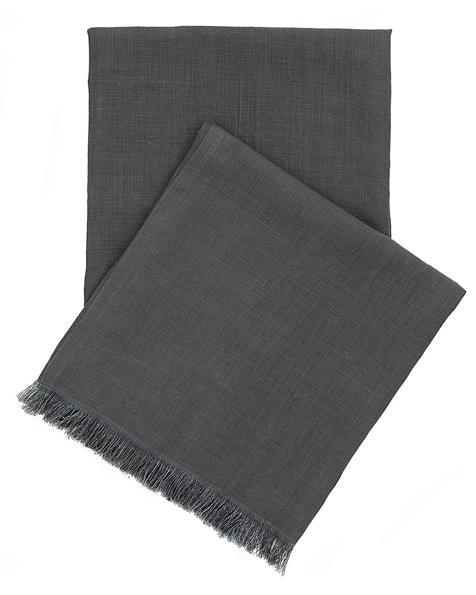 Stone Washed Linen Shale Throw