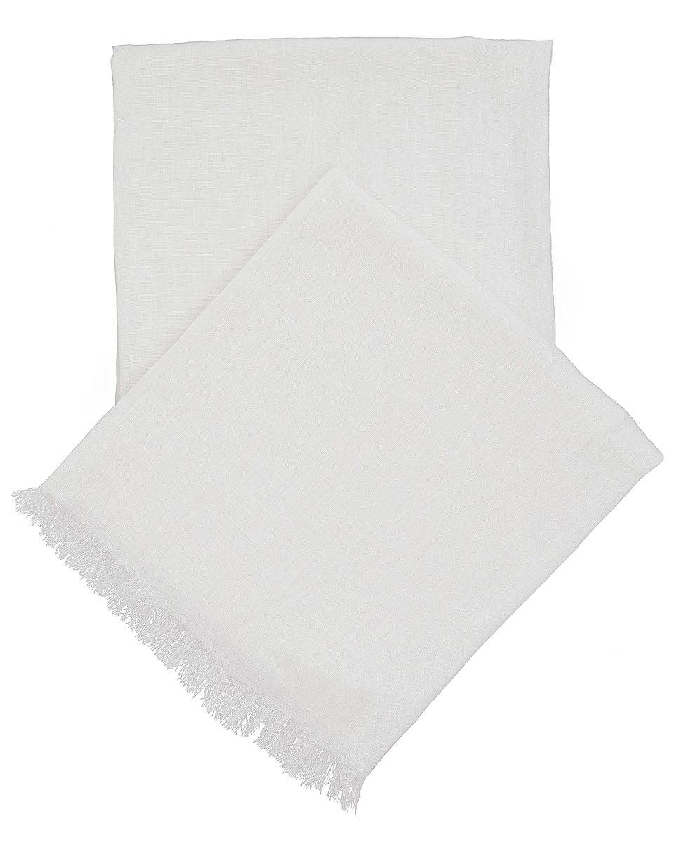 Stone Washed Linen White Throw