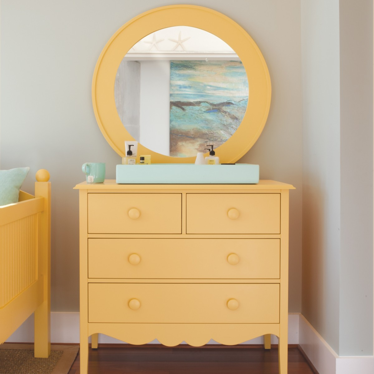 Big Round Bay Mirror by Maine Cottage   Where Color Lives