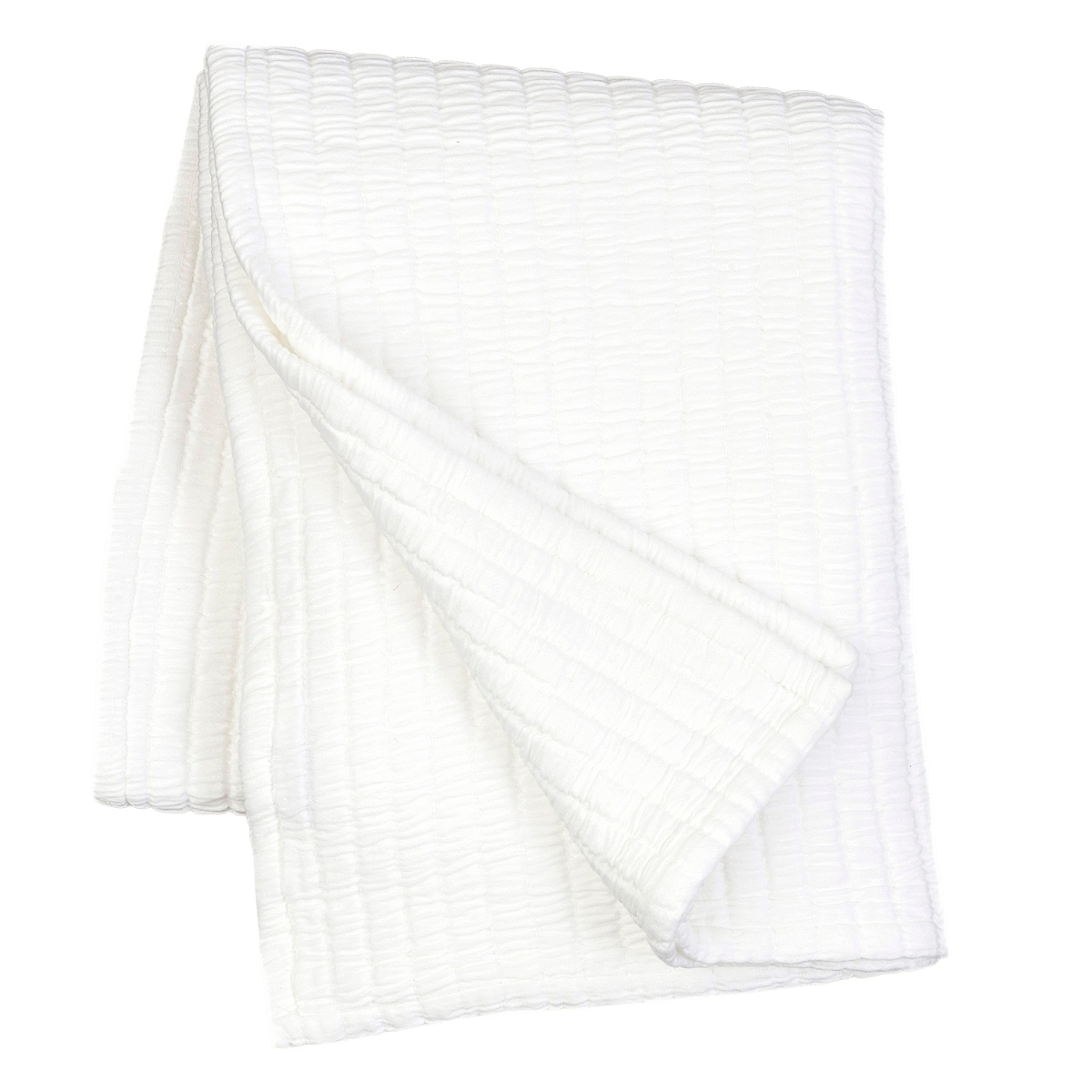 "Boyfriend White Matelasse Throw 50"" x 70"""