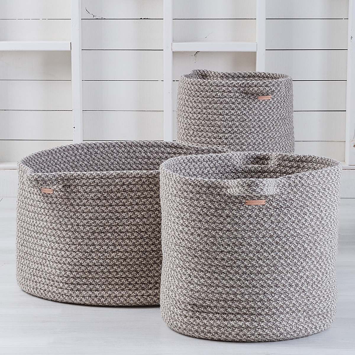 Braided Wool Basket - Houndstooth