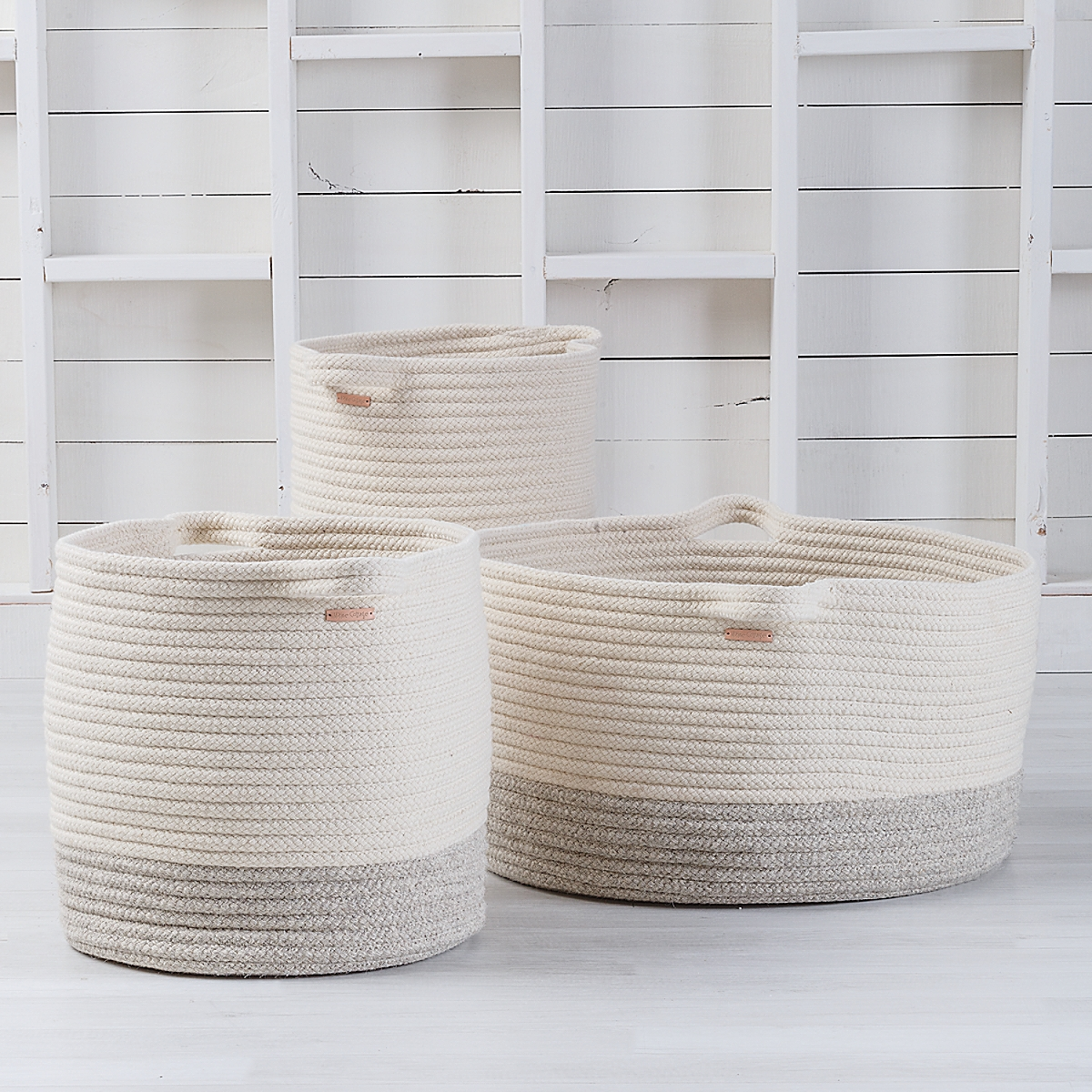 Braided Wool Basket - Two Tone
