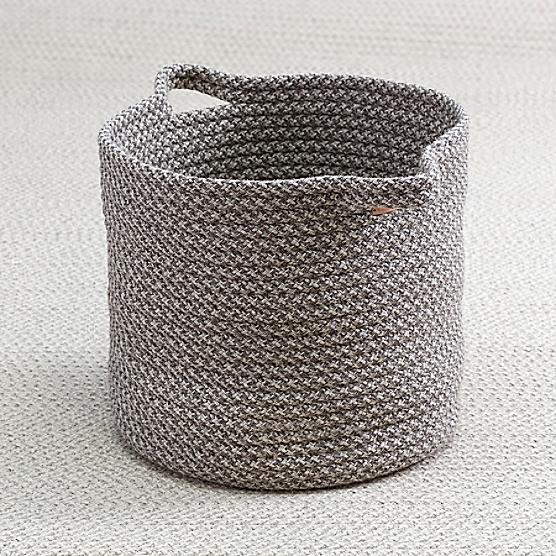 Braided Wool Basket Houndstooth Maine Cottage 174