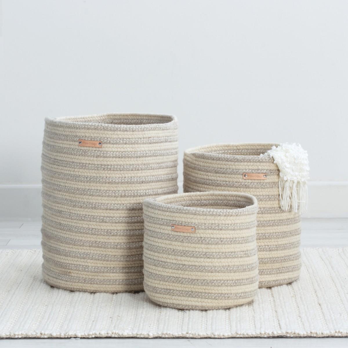 Little Braided Wool Basket - Stripe