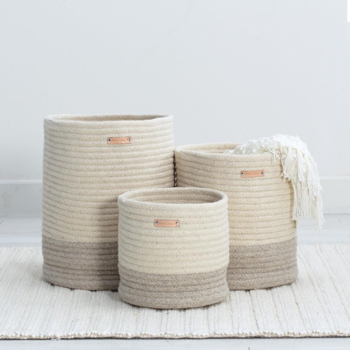 Little Braided Wool Basket - Two Tone