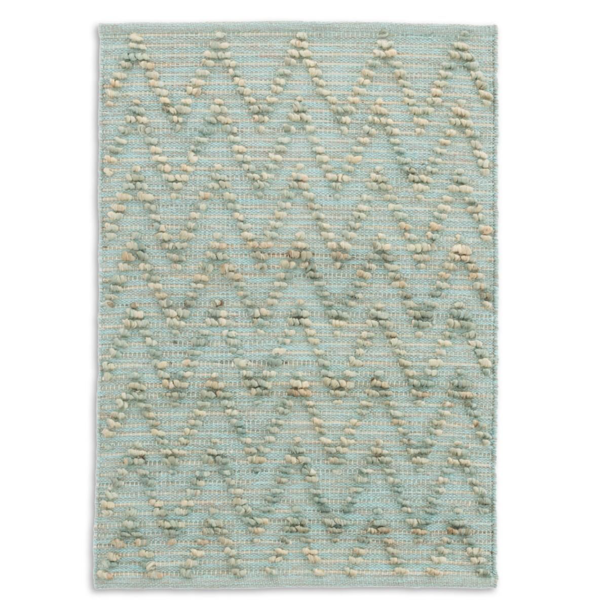 Chevron Woven Cotton/Jute Rug - Aqua