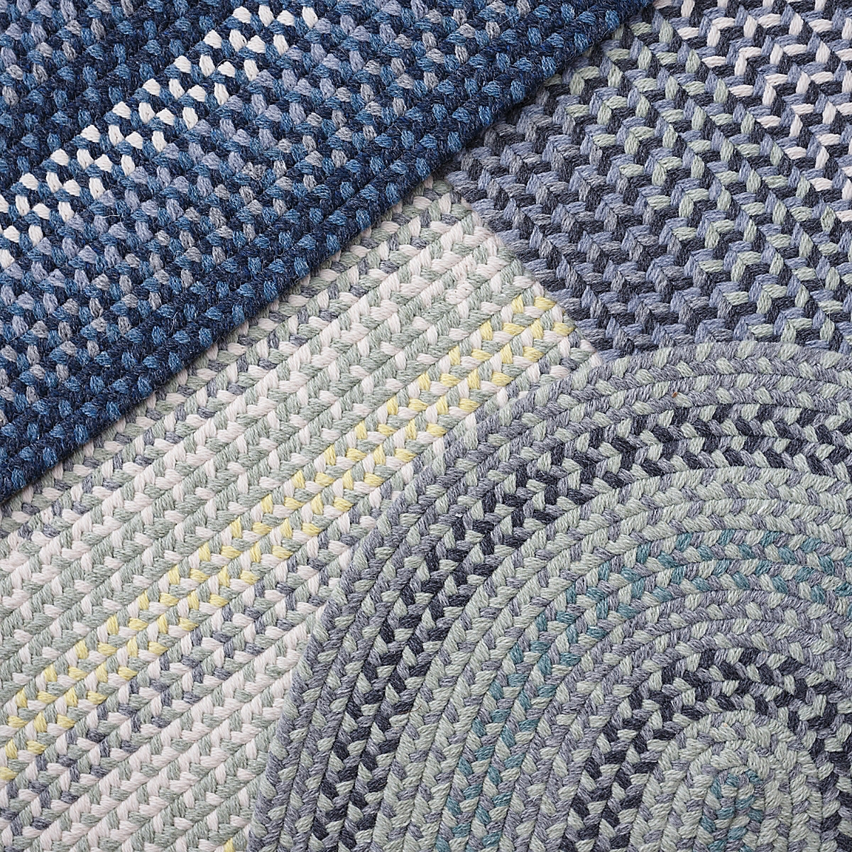 Cottage Braided Wool Rug - Blue/Gray