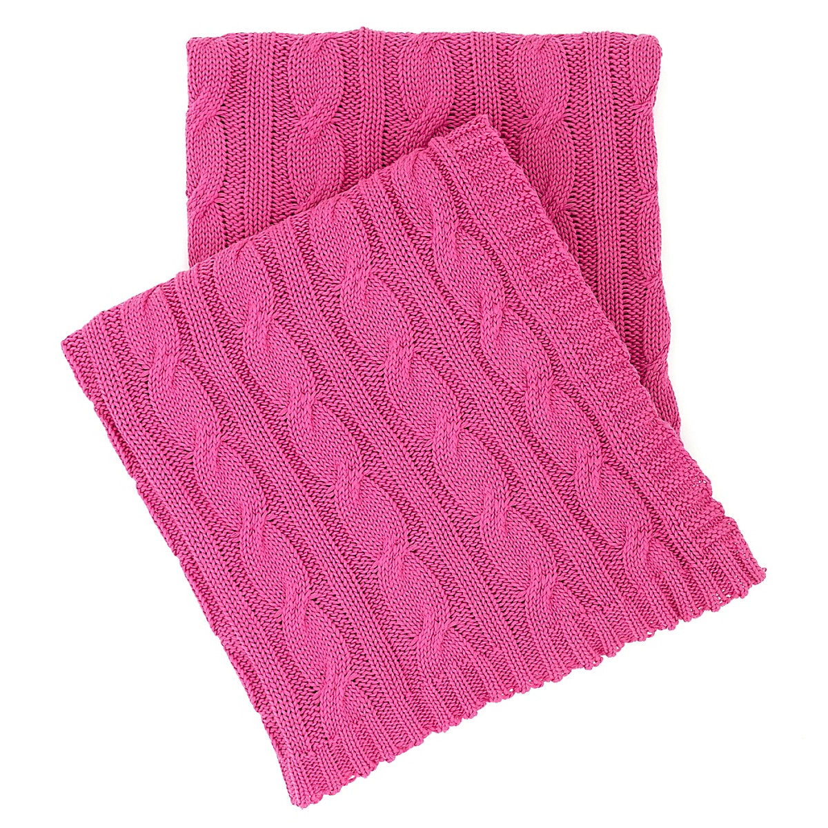 Cozy Cable Knit Blanket Bright Pink