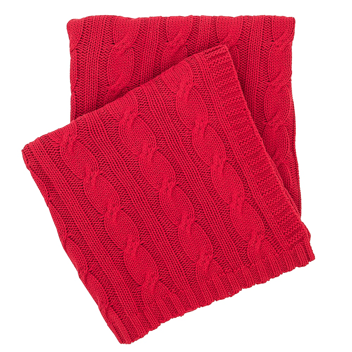 Cozy Cable Knit Blanket Tomato