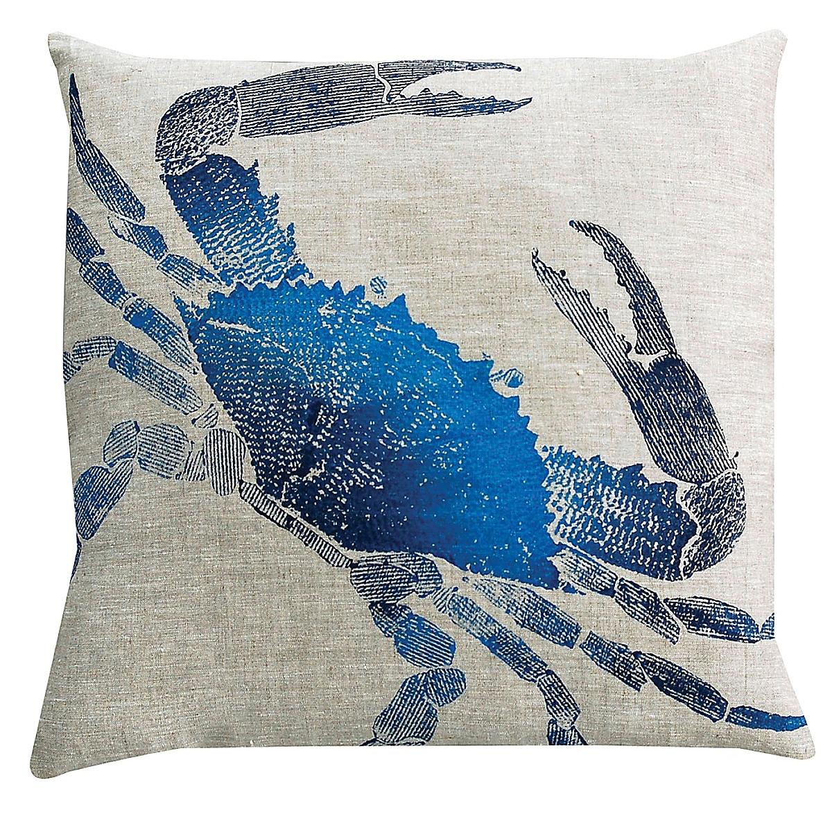 "20"" x 20"" - Crab Pillow: Marine on Natural Linen"