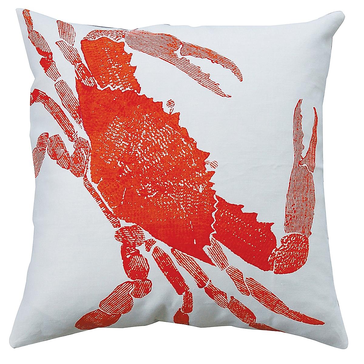 "20"" x 20"" - Crab Pillow: Rhubarb on White Linen"