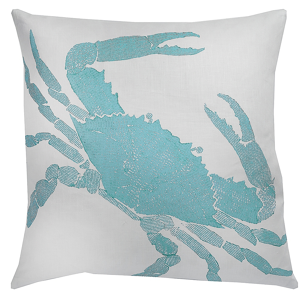 "20"" x 20"" - Crab Pillow: Wave on White Linen"