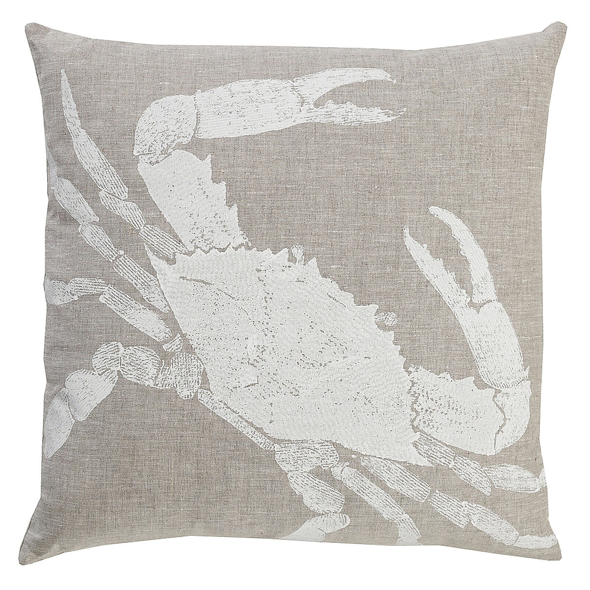 """20"""" x 20"""" - Crab Pillow: White on Natural Linen"""